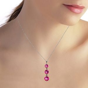Galaxy Gold Products Jewelry - 14K. SOLID GOLD NECKLACE WITH NATURAL PINK TOPAZ
